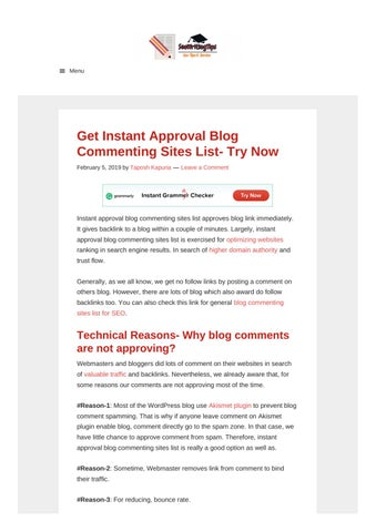 Instant Approval Blog Commenting Sites List by talkandtalkers - issuu