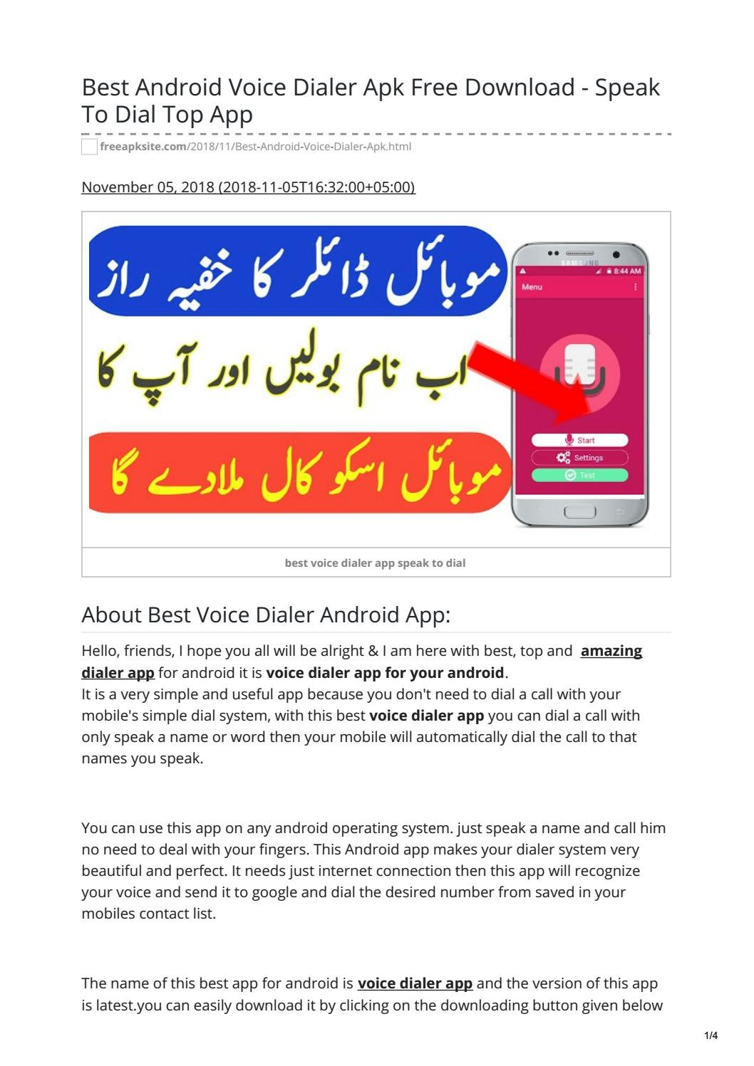 Best Android Voice Dialer Apk Free Download - Speak To Dial