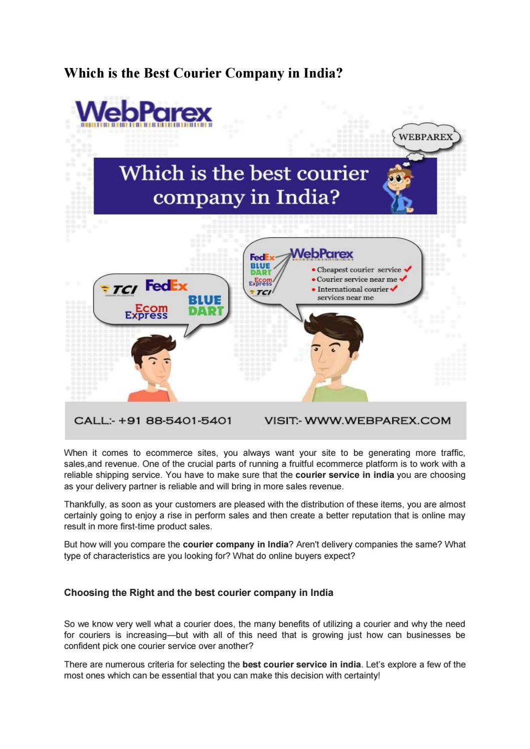 Which is the best courier company in India by Web Parex - issuu