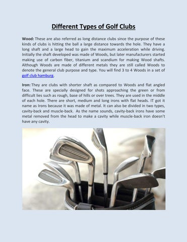 Different Types Of Golf Clubs By Golf Lounge Issuu