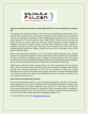 Falcon Survey Engineering Consultants Provides Highly Effective 3D