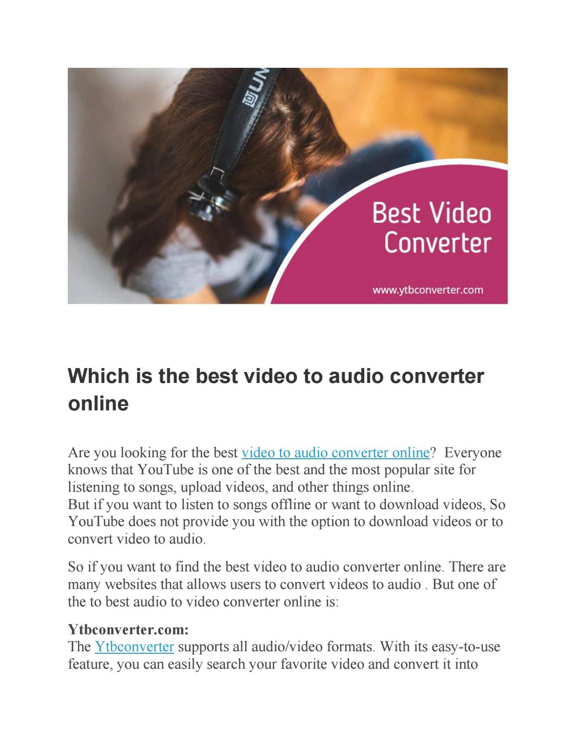 Which is the best video to audio converter online by