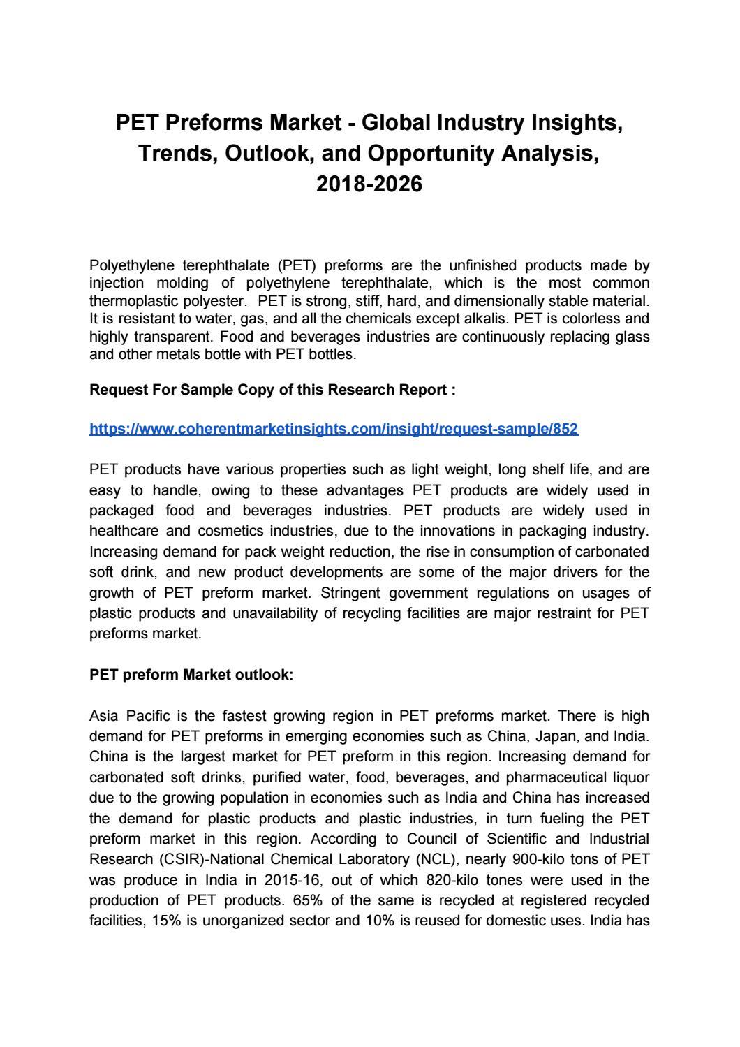 PET Preforms Market by coherentmarketinsights - issuu