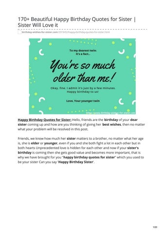 170 Beautiful Happy Birthday Quotes For Sister Your Sister Will