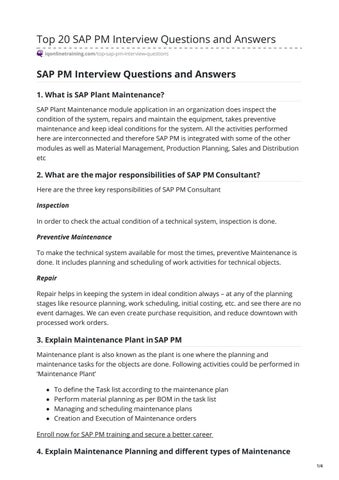 Top 20 SAP PM Interview Questions and Answers by