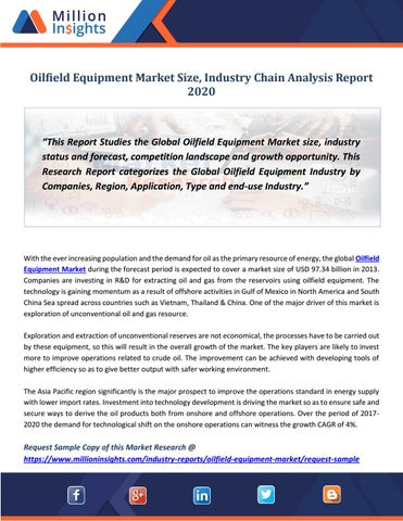 Oilfield Equipment Market Size & Forecast Report 2012 - 2020 by