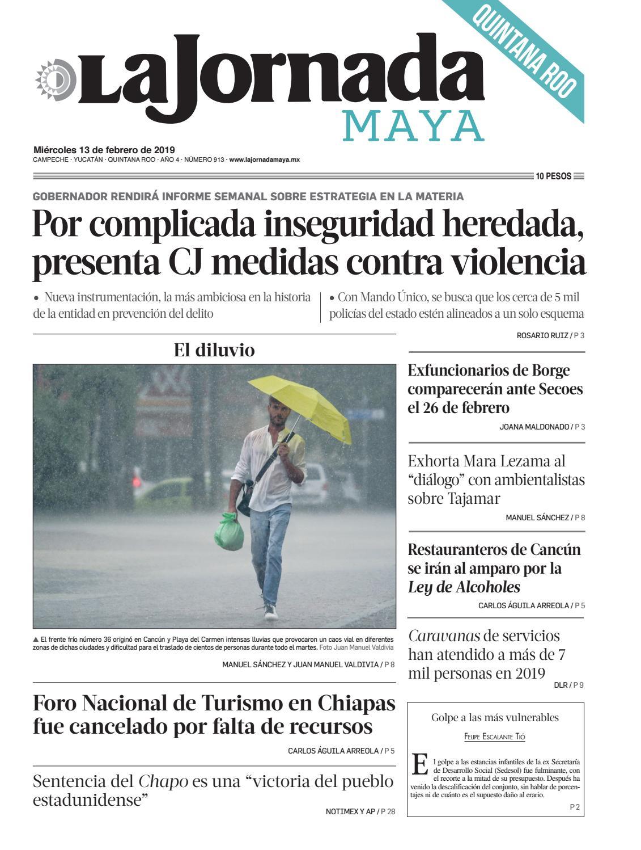La Jornada Maya · miércoles 13 de febrero de 2019 by La Jornada Maya - issuu 560ec9651fc