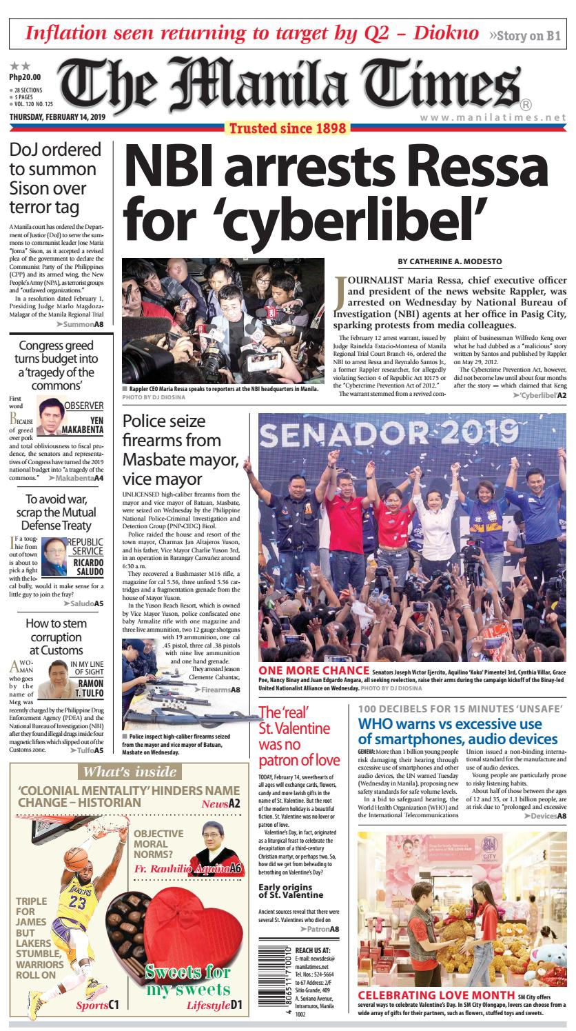 THE MANILA TIMES | FEBRUARY 14, 2019 by The Manila Times - issuu