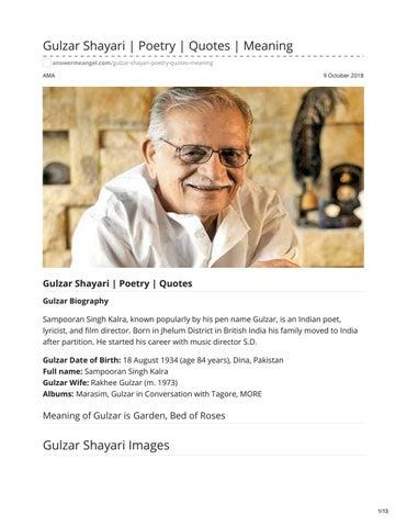 Gulzar Shayari Poetry Quotes Meaning by Ritesh Seth - issuu