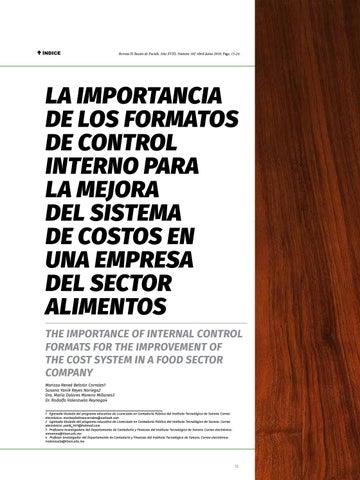 Page 15 of La importancia de los formatos de control interno para la mejora del sistema de costos en una empresa del sector alimentos