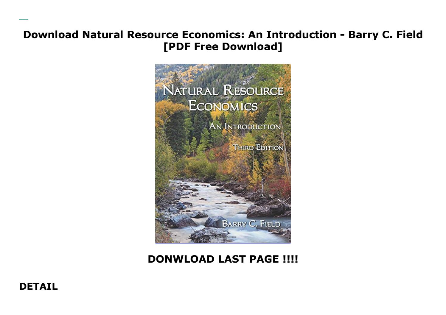 Download Natural Resource Economics: An Introduction - Barry