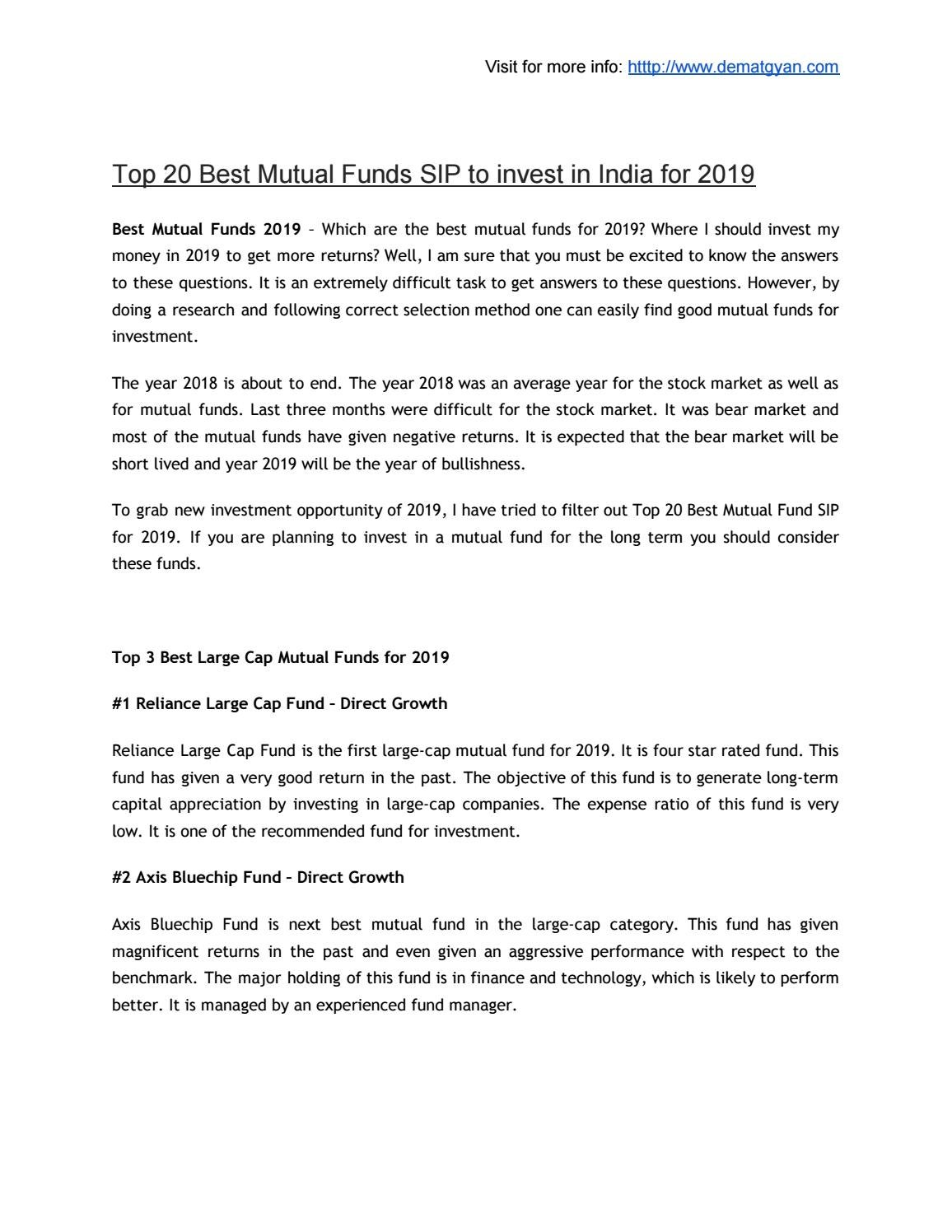 Top 20 Best Mutual Funds SIP to invest in India for 2019 by