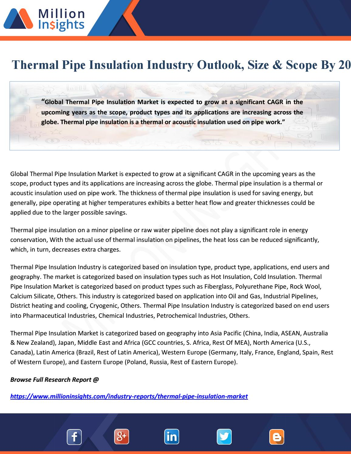 Thermal Pipe Insulation Industry Outlook, Size & Scope By