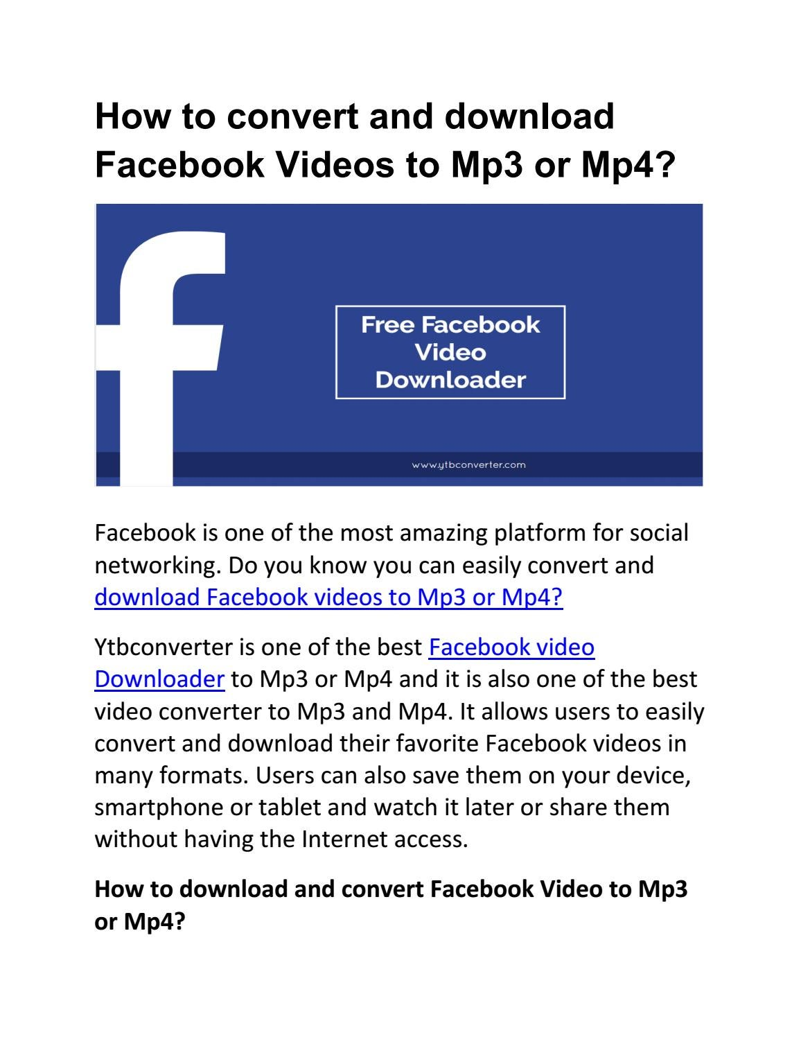 How to convert and download Facebook Videos to Mp3 or Mp4 by