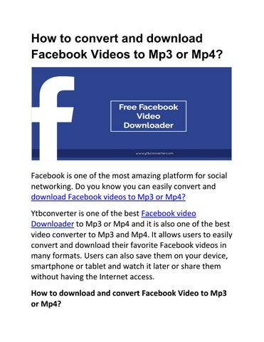 download video from facebook convert to mp3