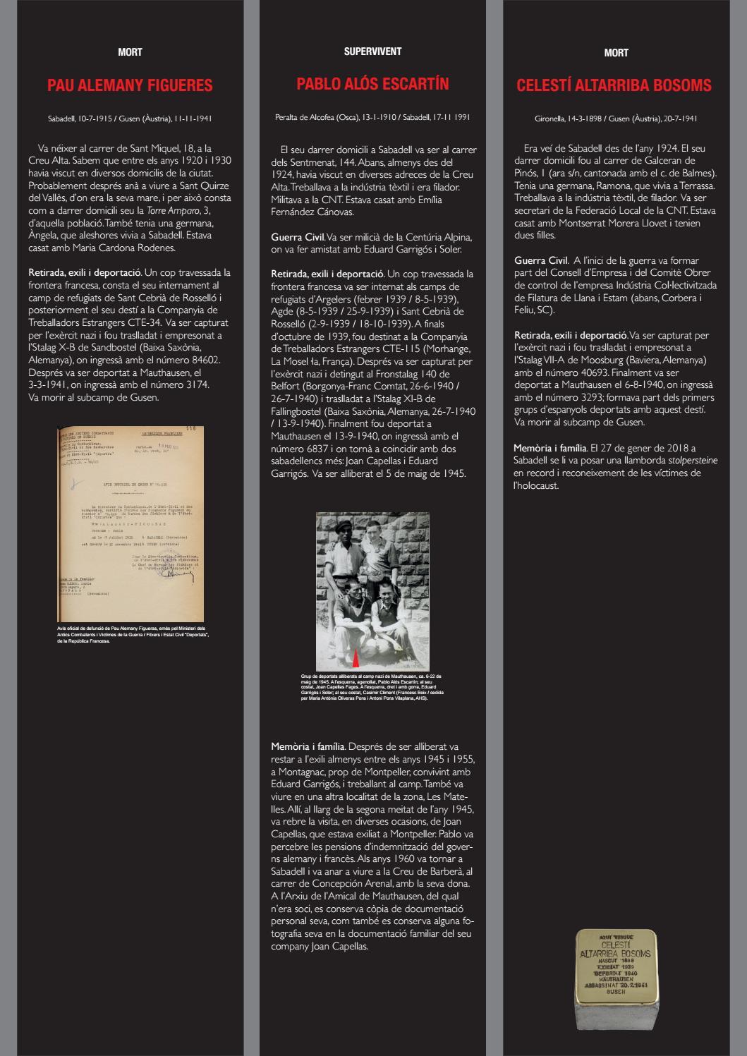 EXPOSICIÓ: DEPORTATS  60 sabadellencs als camps nazis 1940