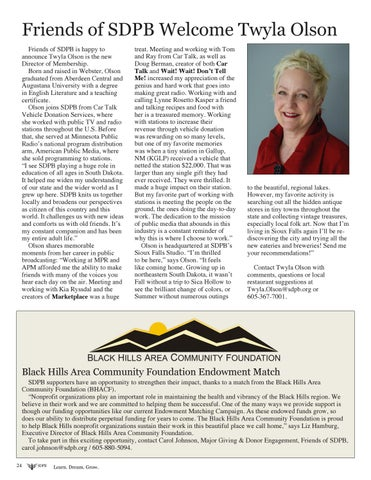 Page 24 of Friends of SDPB Welcome Twyla Olson