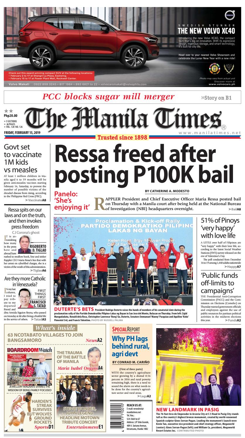 a774043df9f THE MANILA TIMES | FEBRUARY 15, 2019 by The Manila Times - issuu