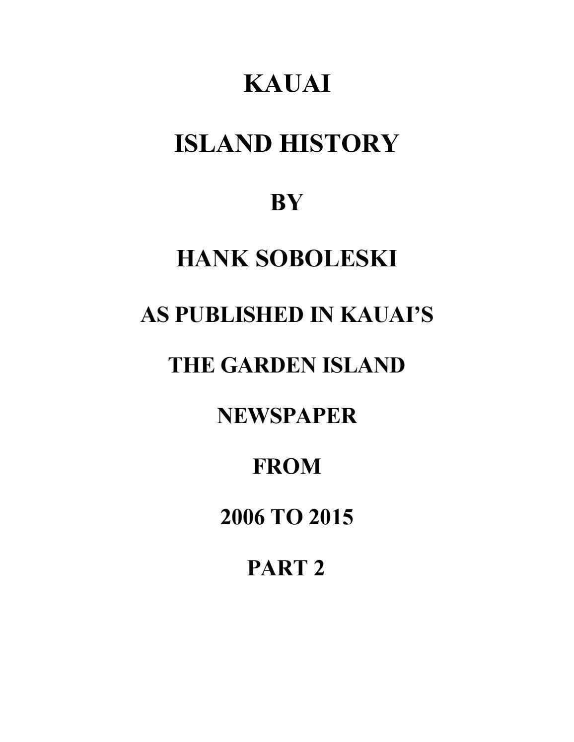 Kauai Island History, part 2 by The Garden Island Newspaper