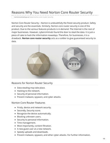 Reasons Why You Need Norton Core Router Security by