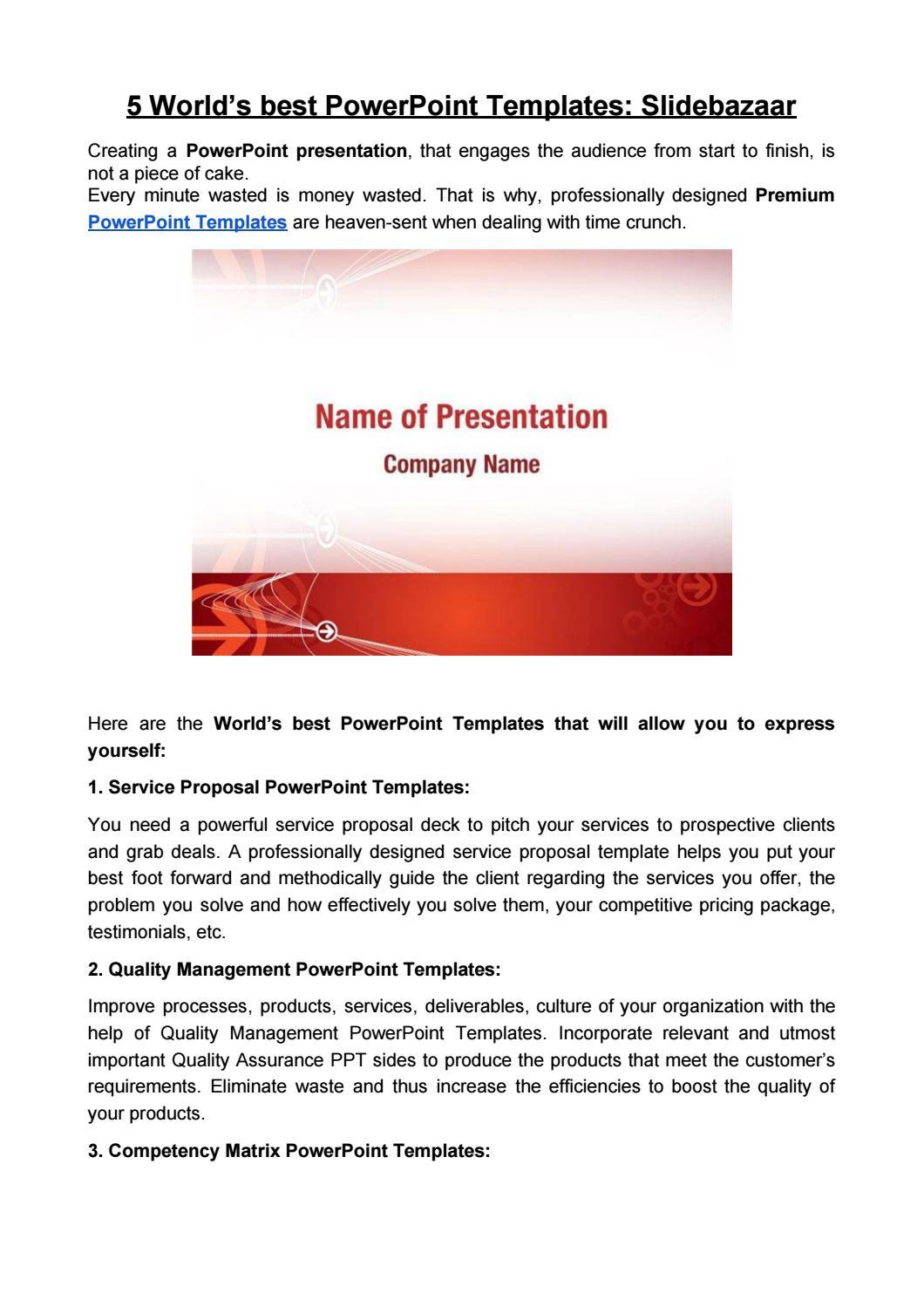Powerpoint Templates By Slide Bazaar Issuu