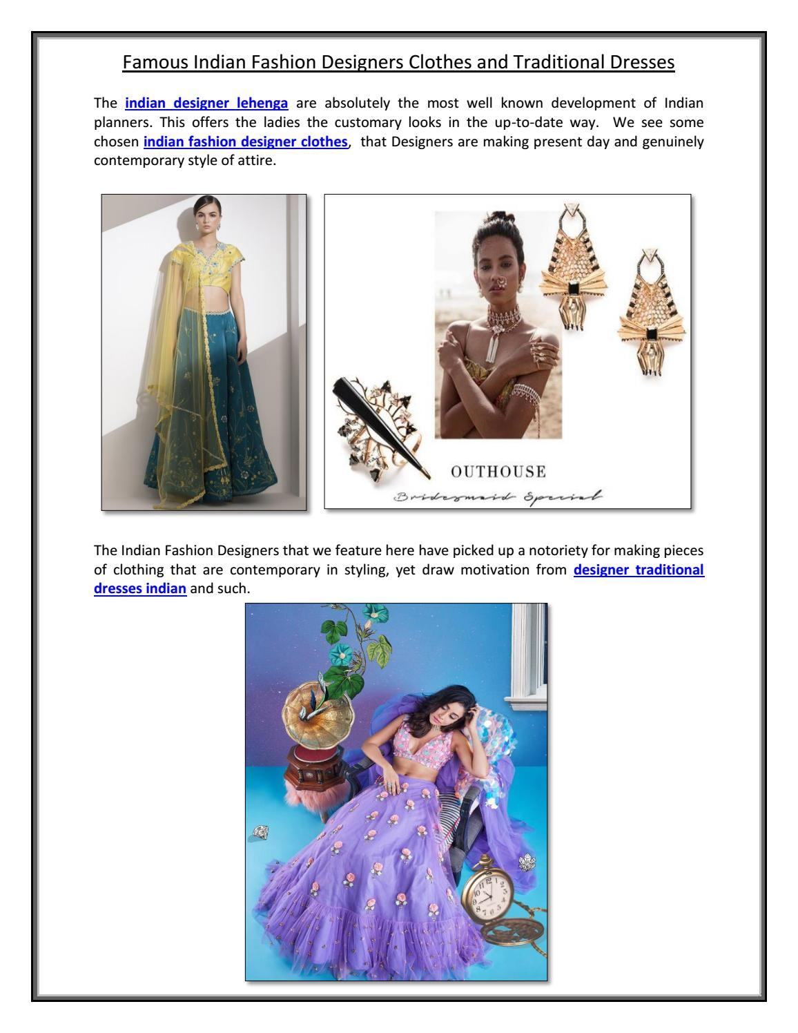Famous Indian Fashion Designers Clothes And Traditional Dresses By Indias Popup Issuu