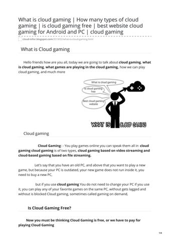 What is cloud Gaming by Spidy Jef - issuu