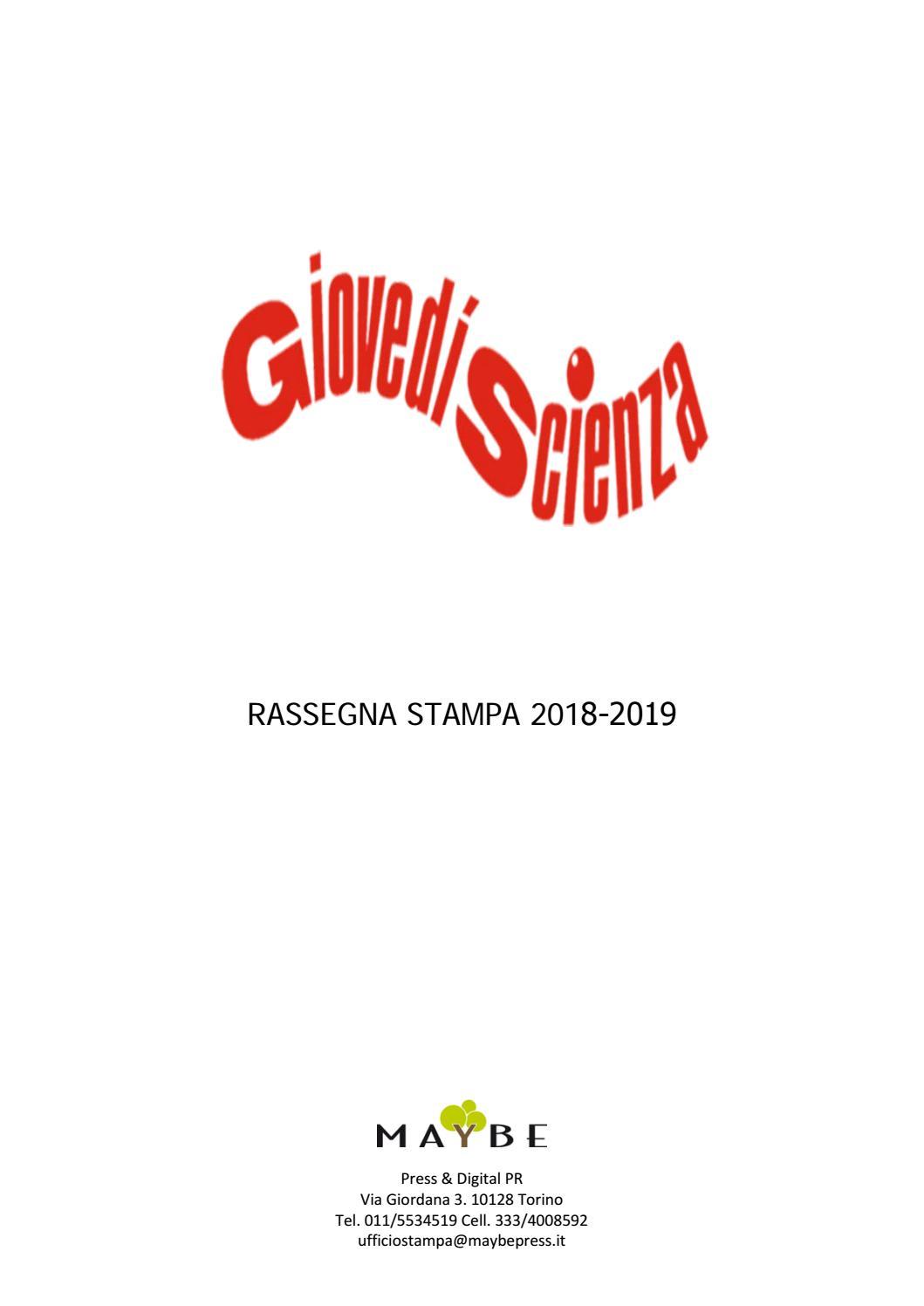 Polito Calendario Cronologico 2020.Rassegna Stampa 2018 2019 Giovedi Scienza By Maybe Ufficio