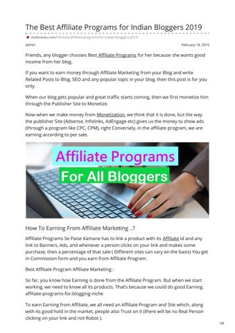 The Best Affiliate Programs for Indian Bloggers 2019 by