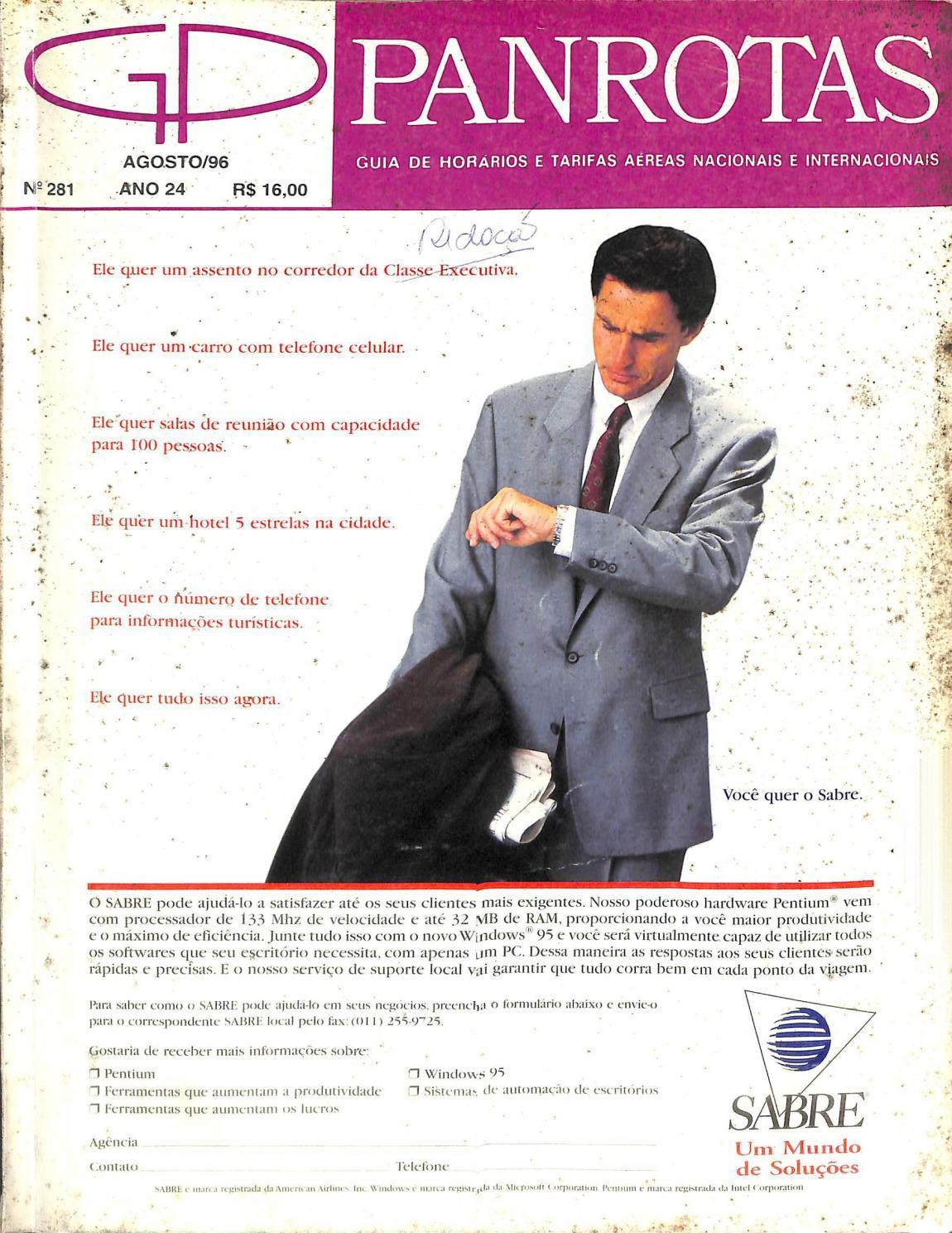 bce04f3a292 Guia PANROTAS - Edição 281 - Agosto 1996 by PANROTAS Editora - Issuu