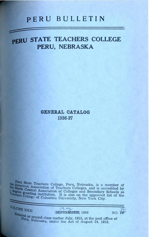 1936-1937 catalog of Peru State Teachers College (Nebraska) by Peru State  College Library - issuu