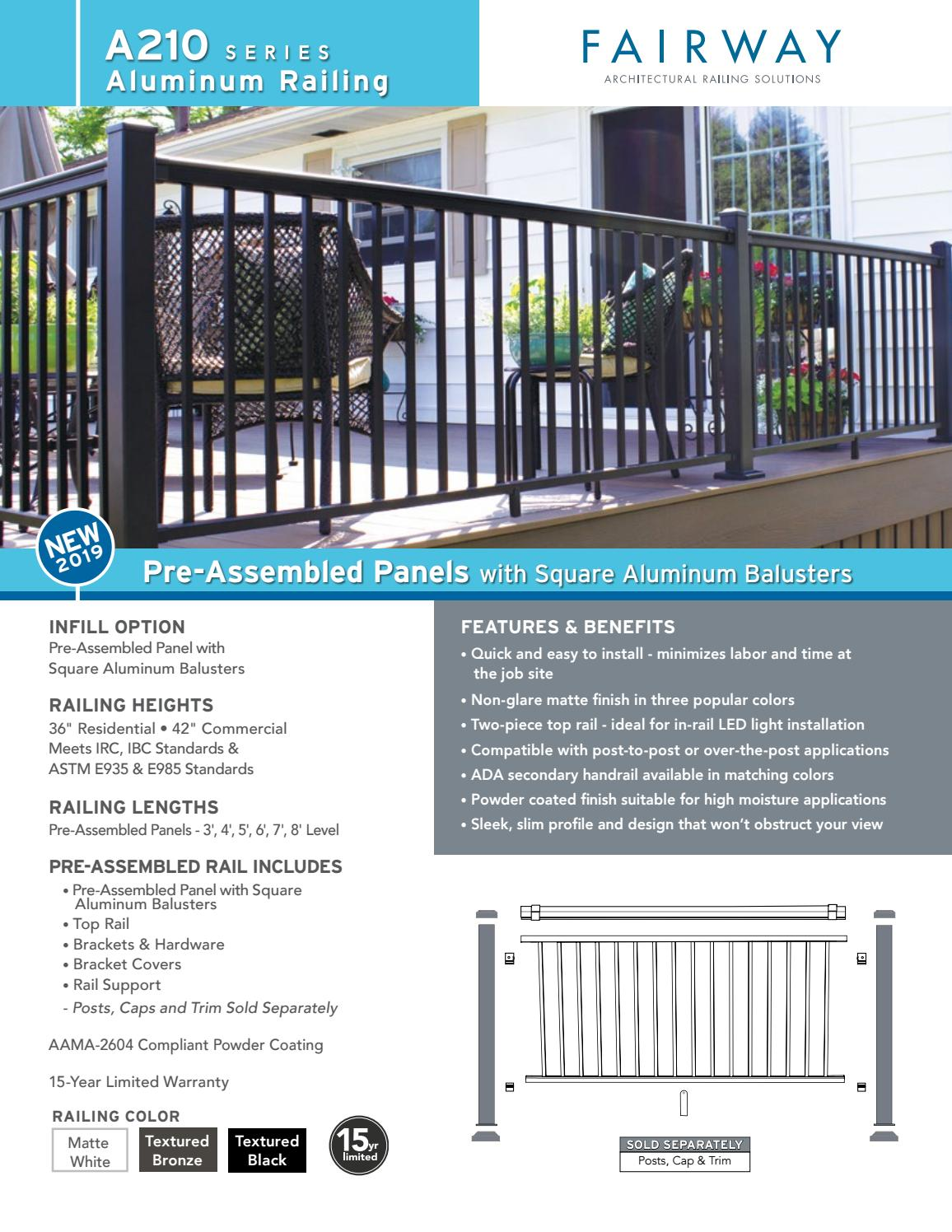 A210 Pre-Assembled Panels with Square Aluminum Balusters