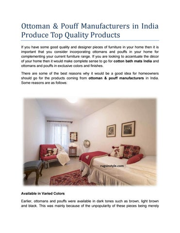 Ottoman & Pouff Manufacturers in India Produce Top Quality Products