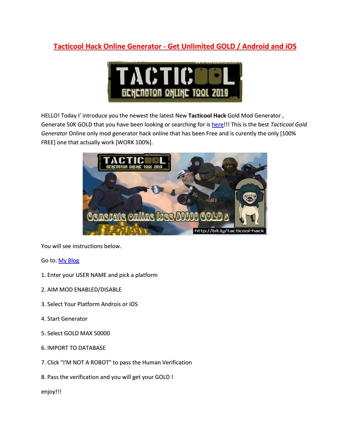 Tacticool Hack GOLD Mod Generator - Generate 50000 Free GOLD by