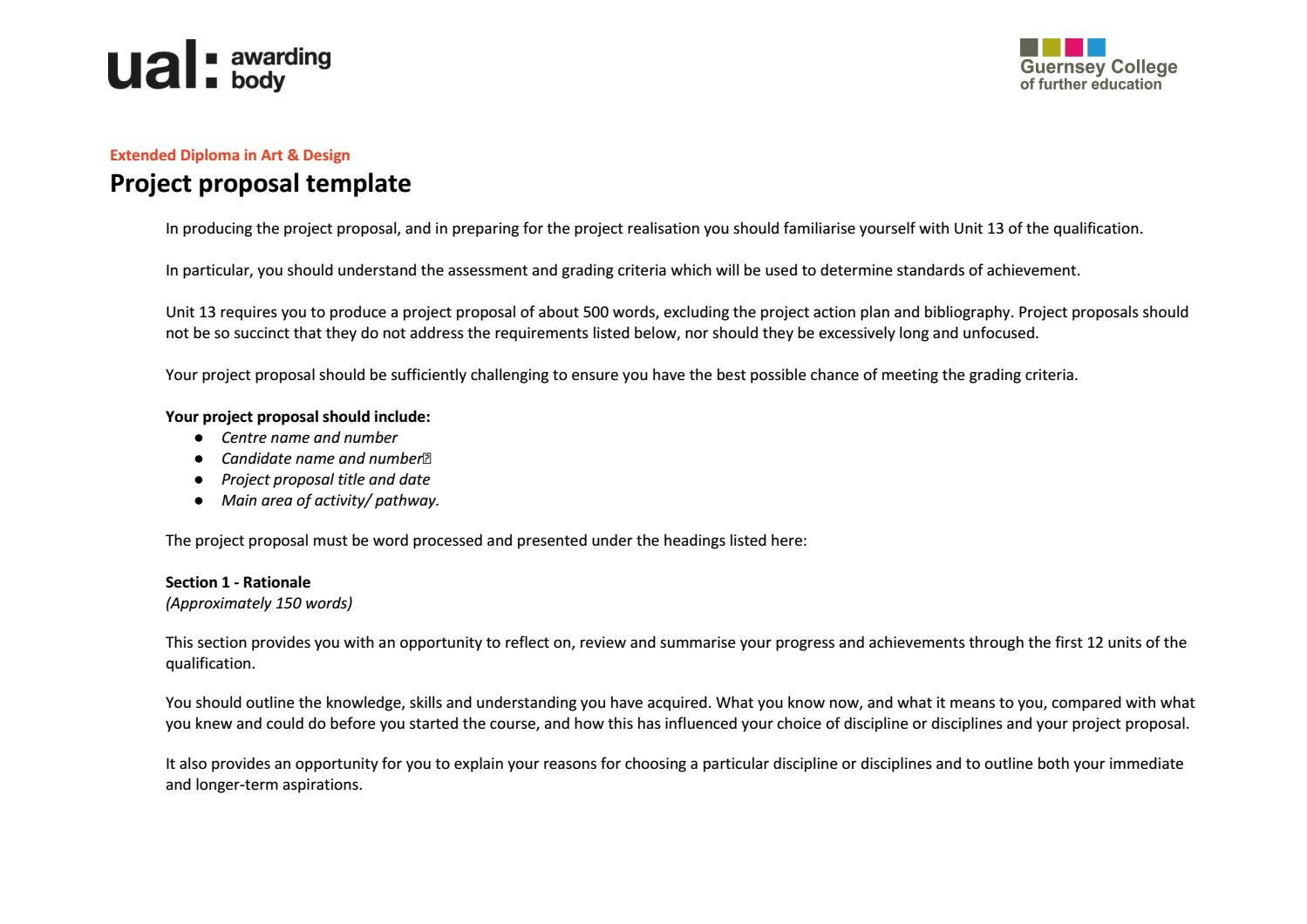 ual fmp project proposal template by charlie towers