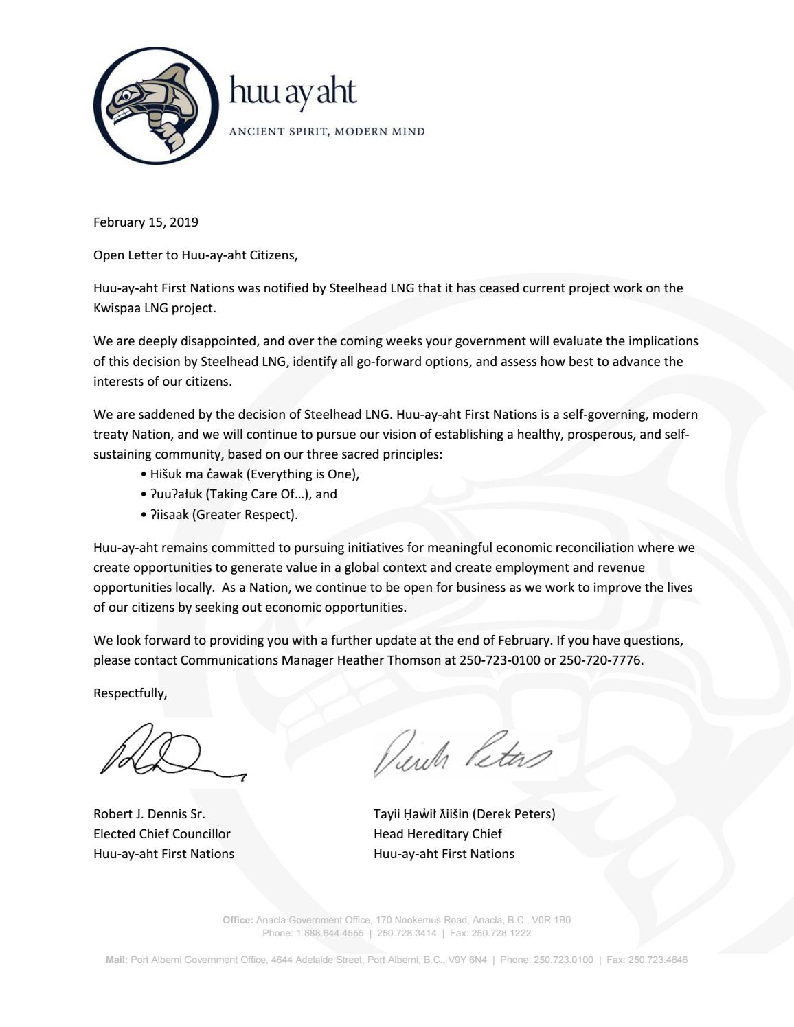 Huu-ay-aht First Nations would like to share the following open letter with  its citizens: