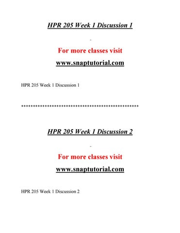 HPR 205 Effective Communication By