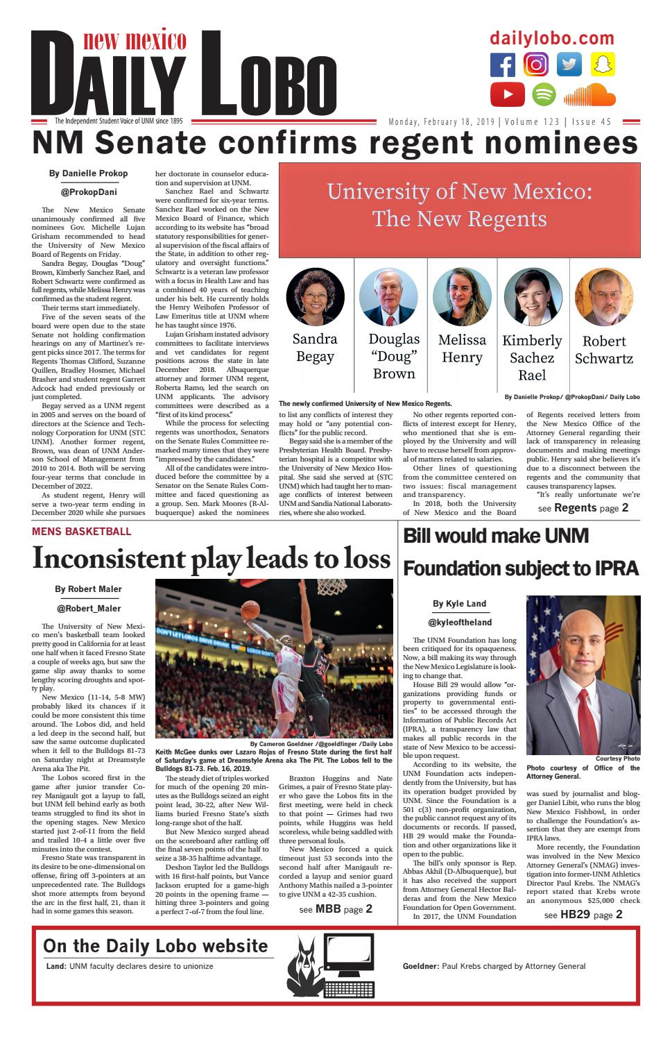 Daily Lobo 02182019 By Unm Student Publications Issuu