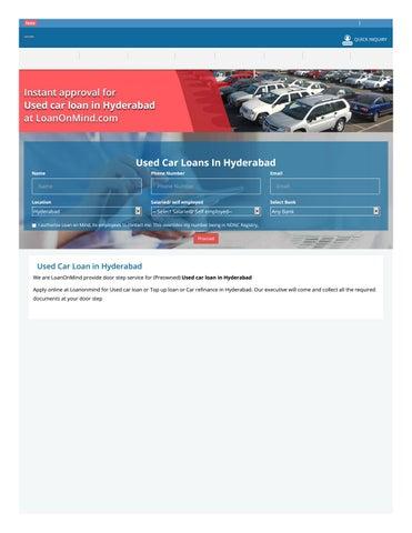 Used Car Loan >> New Car Loan In Hyderabad By Loanonmind Issuu