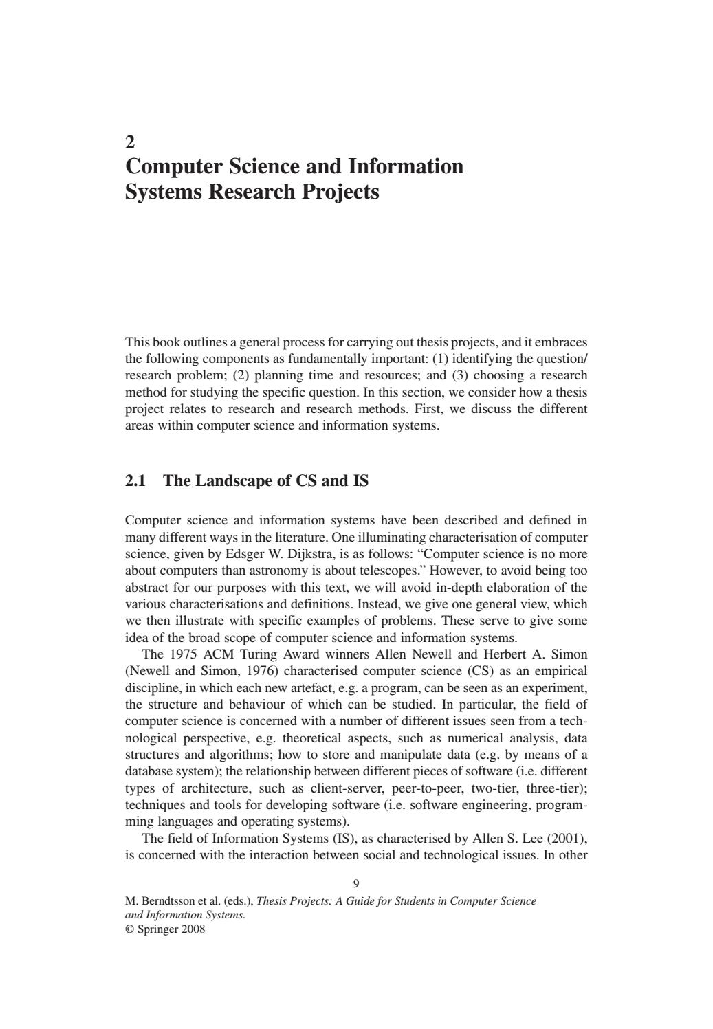 Thesis projects a guide for students in computer science buy world literature dissertation methodology