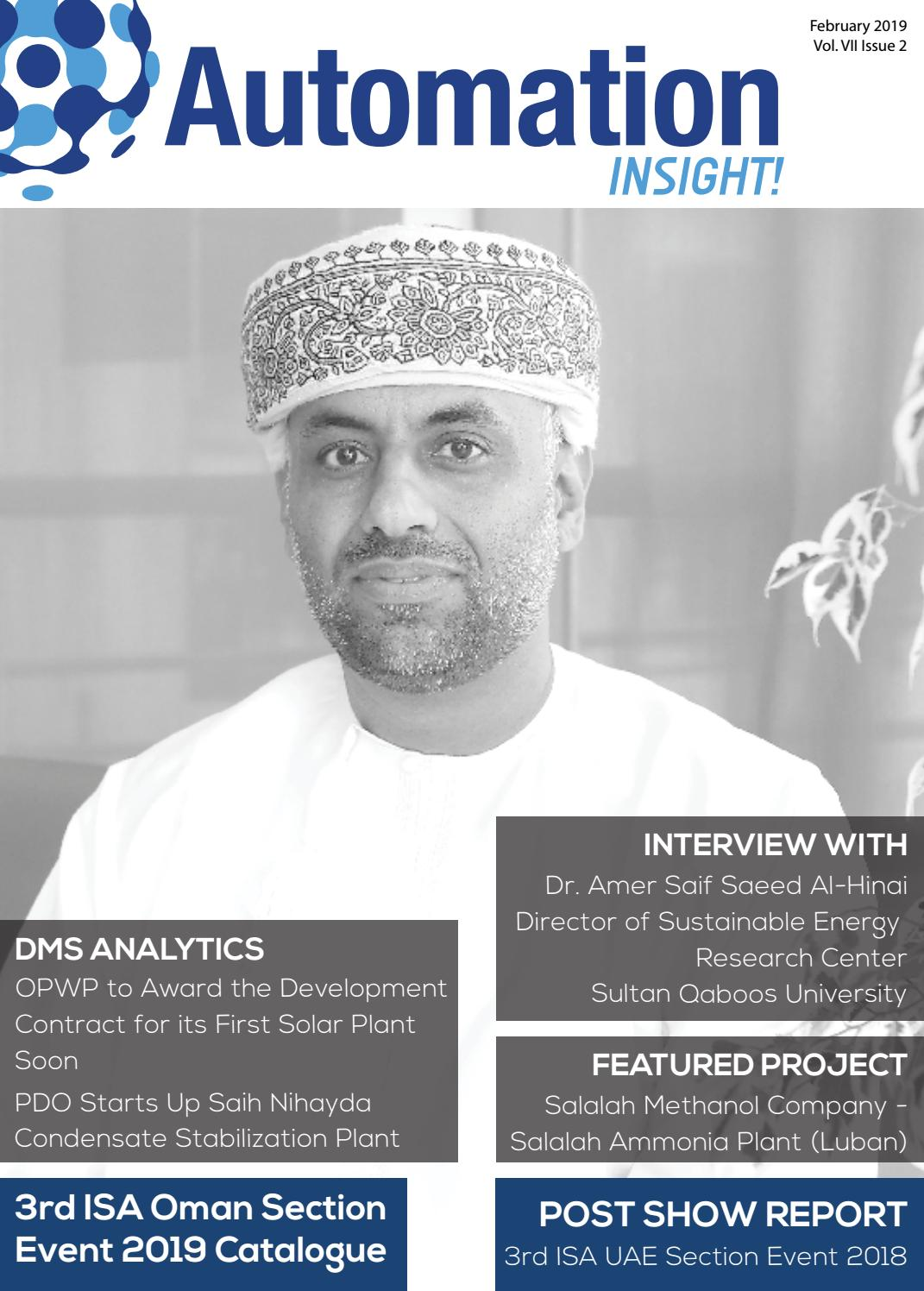 Automation INSIGHT! 3rd ISA Oman Section Event 2019, Vol 7