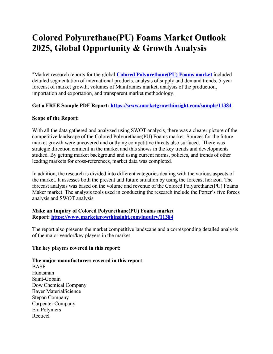 Colored Polyurethane(PU) Foams Market Outlook 2025, Global
