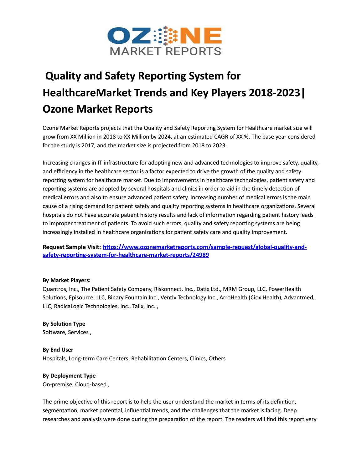 Quality and Safety Reporting System for HealthcareMarket