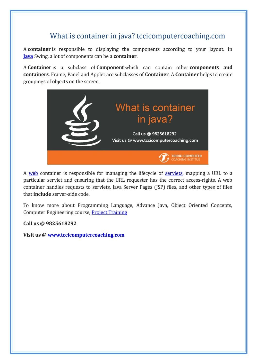 What is container in java? tccicomputercoaching com by