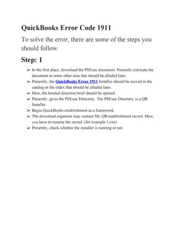 Steps to Resolve QuickBooks Error Code 1911 by