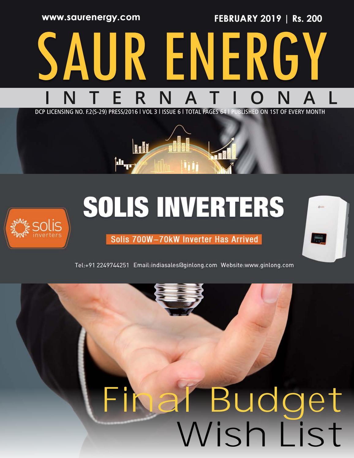 Saur Energy Magazine February 2019 by Saur Energy International - issuu