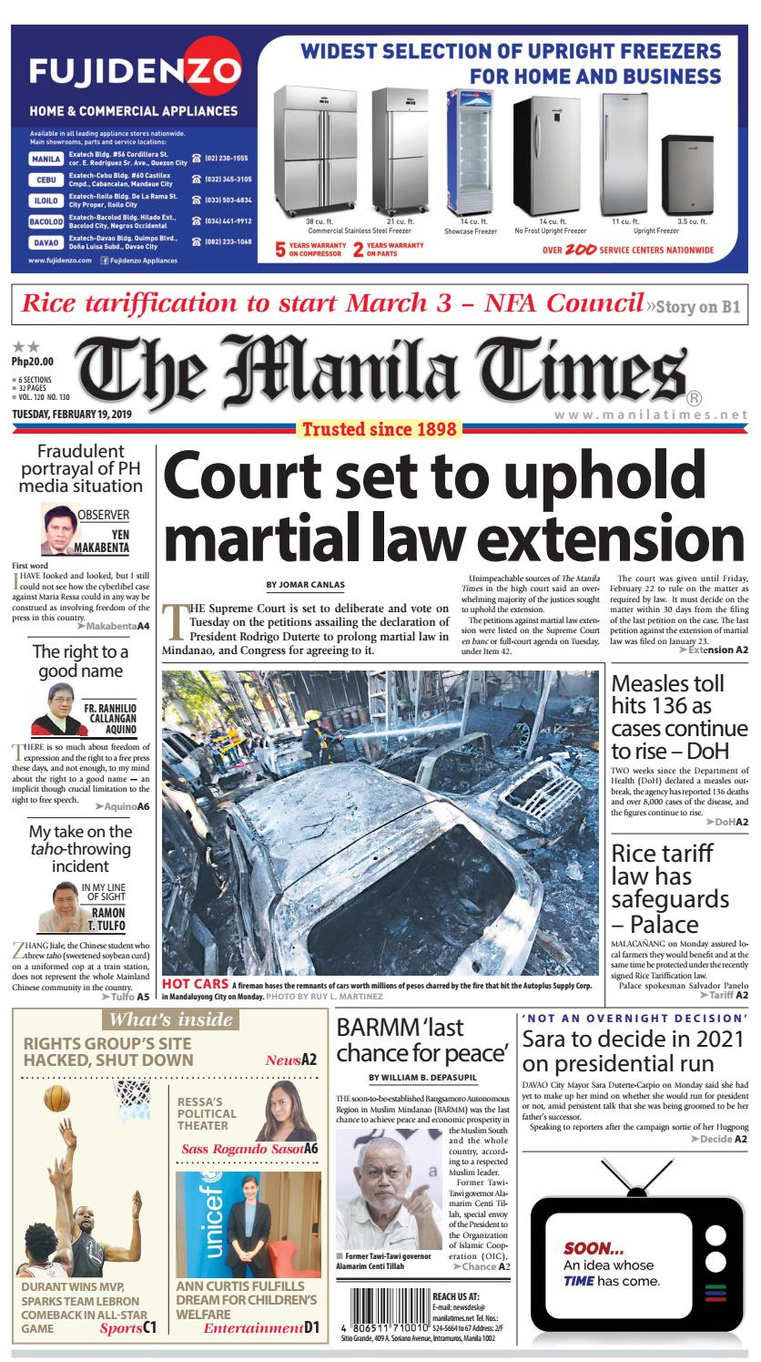 THE MANILA TIMES | FEBRUARY 19, 2019 by The Manila Times - issuu