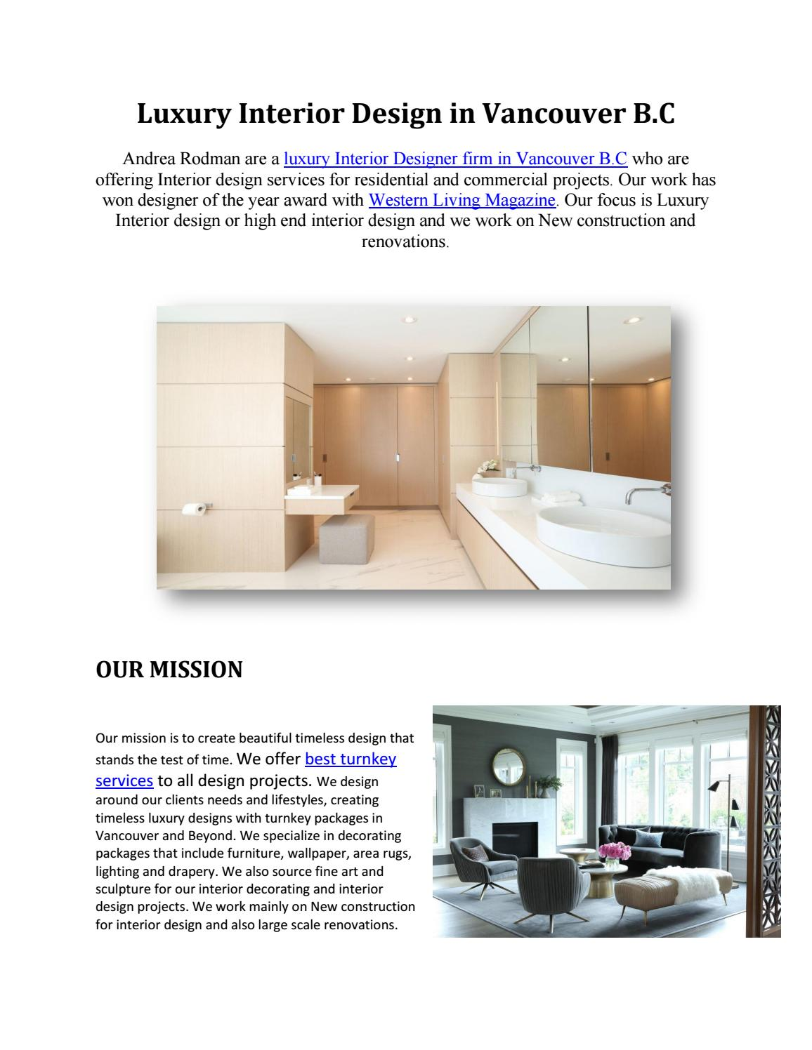 Interior Design Companies Vancouver By Andrea Rodman Issuu