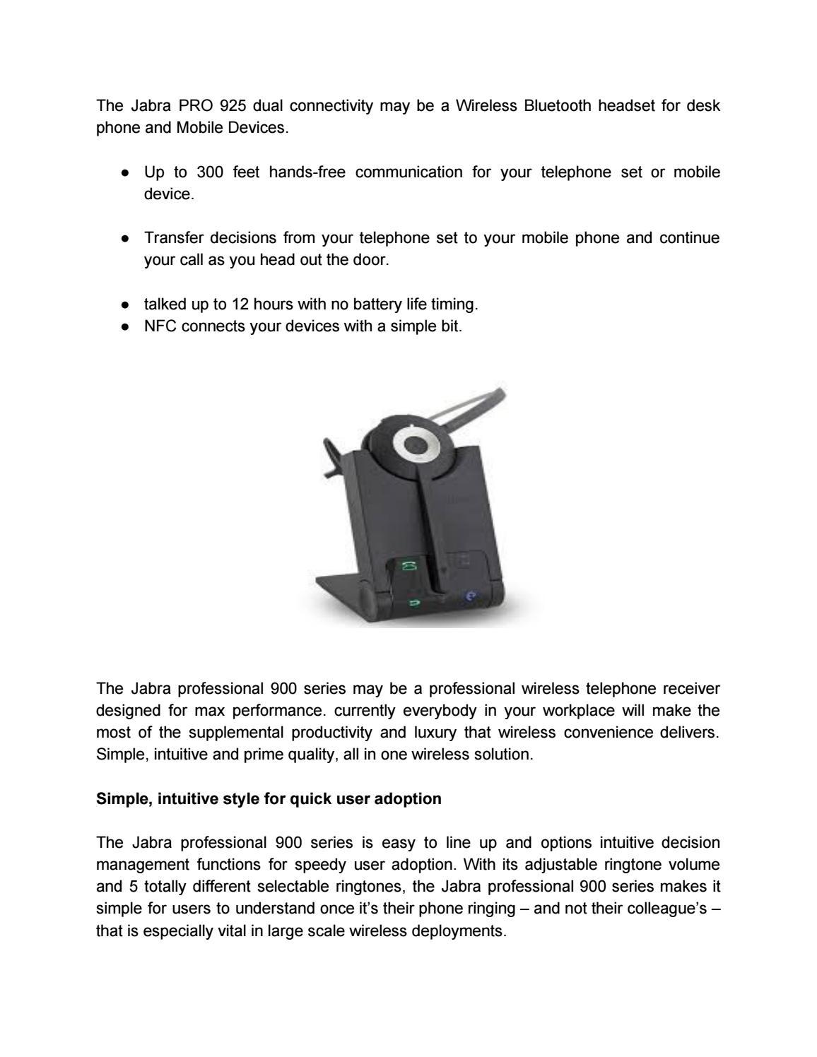 Pro 925 Bt Jabra Pro 925 Wireless Bluetooth Mono Headset Dual Connectivity By Fragrancejohn Issuu