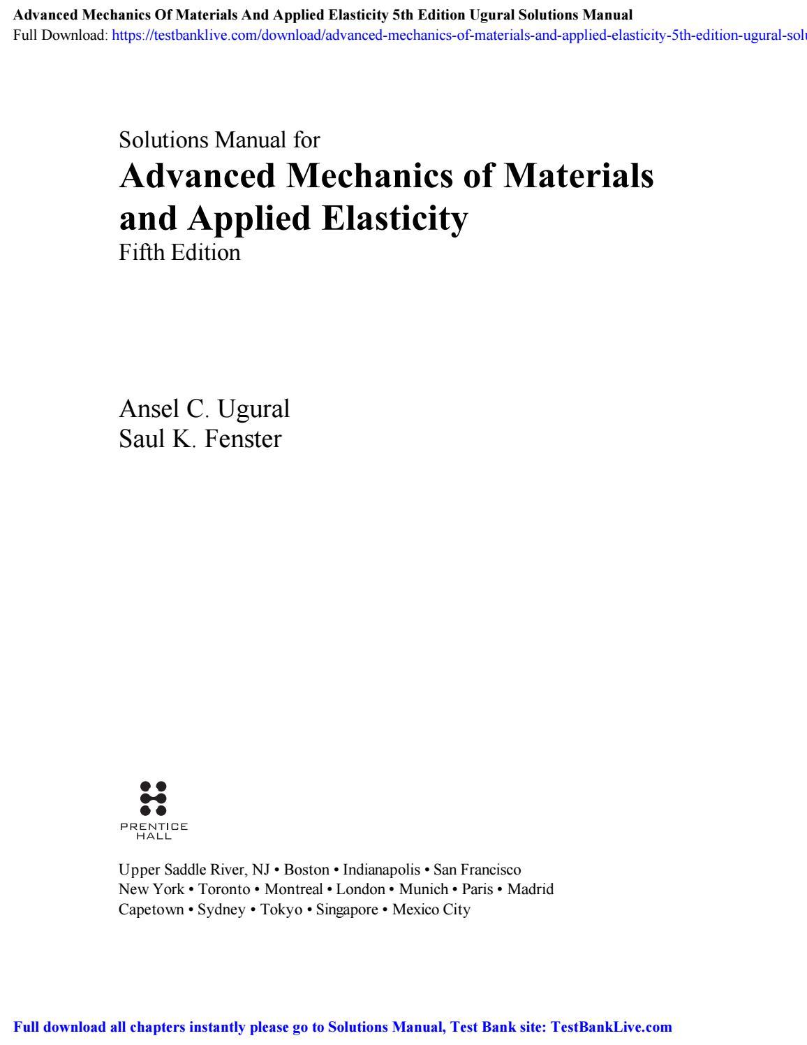 Advanced Mechanics of Materials Science & Math Books ...